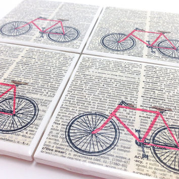 Ceramic Tile Coasters - Red Bicycle - Set of 4 - Upcycled Dictionary Page Book Art - Home Decor