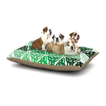 "KESS Original ""Celtic Knot Green"" Forest Mint Dog Bed"