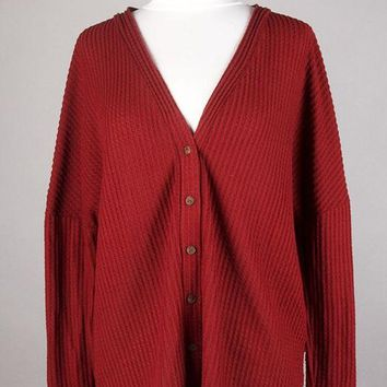 Burgundy Button Thermal Sweater