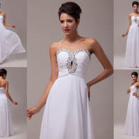 HOT Sexy White Long Wedding Bridesmaid Ball Gown Formal Evening Prom Party Dress
