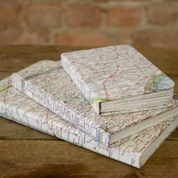 Handmade Vintage Map Journals, Sketchbooks, & Notebooks