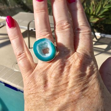 Blue Druzy Geode Silver Ring size 8