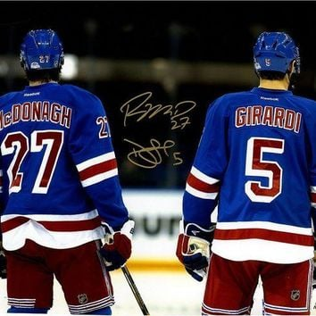 DCCKU7Q Dan Girardi Ryan McDonagh Dual Signed Line Up for National Anthem 16x20 Photo