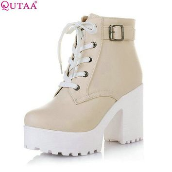 QUTAA 2017 New Women Rain Boots Fashion Winter Snow Platform Women's Ankle Boots Motorcycle For Woman Wedding Size 34-43
