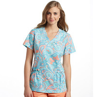 White Cross Women's Shirred V-Neck Paisley Print Scrub Top