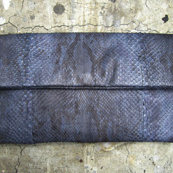 Blue Grey Pattern Fold Over Python Snakeskin Leather by linmade