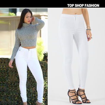 Hot Sale Women's Fashion Stretch High Waist White Jeans [6365917508]
