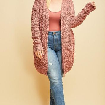 Berry Blush Knit Cardigah | Plus