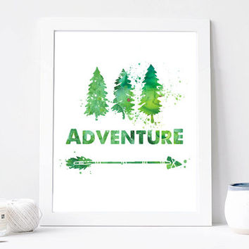 Adventure Print, adventure poster, nursery art, Arrow Wall Decor, Watercolor, Green Travel, Forest
