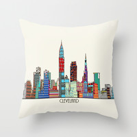 Cleveland city Throw Pillow by Bri.buckley