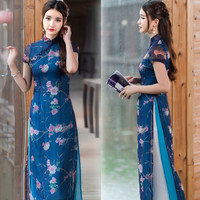 Vintage ethnic dress 2017 Traditional Chinese clothing women summer elegant designer dark blue floral print maxi dress robe