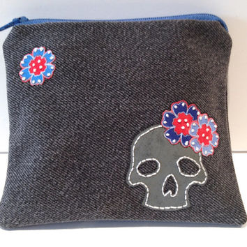 Zippered Skull Denim Coin Purse - Upcycled