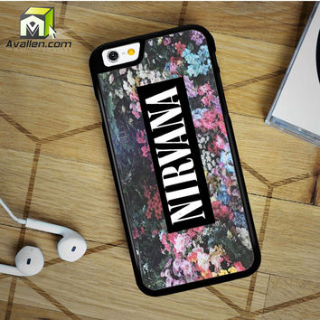Nirvana On Floral Art Kurt Cobain Dave Grohl iPhone 6 Plus Case by Avallen