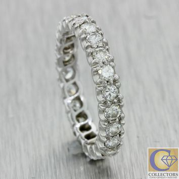 1940s Antique Art Deco Platinum 1.15ct Diamond 3mm Wide Eternity Band Ring