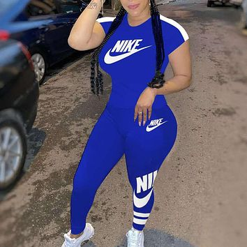 NIKE Ladies fashion printed casual suit Letters Print Two Piece Suit Blue