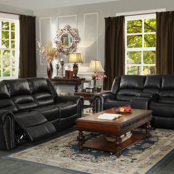 Center Hill Reclining Sofa & Loveseat Set 9668BLK