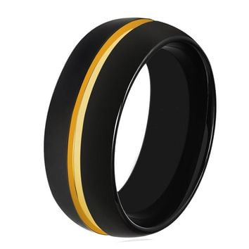Black Tungsten And Yellow Gold Wedding Band Ring Brushed Tungsten Carbide 8mm 18K Tungsten Ring Man Wedding Band Male Women His Hers Matching Black Ring Anniversary Promise Mens Wedding Band High Polished Yellow Gold Ring