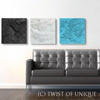 Large concrete wall art / ORIGINAL 3 panel (15-Inch x 15-inch)/ Modern Abstract mineral art / White, Black, blue, Sky-blue