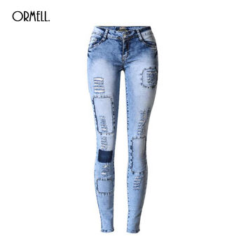 NEW Sexy Women Jean Skinny Jeggings Stretchy Slim Leggings Fashion Hole Patch Skinny Pants