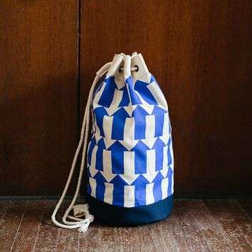 Blue Arrow Print Graphic Screenprinted Duffel Bag / Rucksack with cotton rope drawstring and navy canvas base