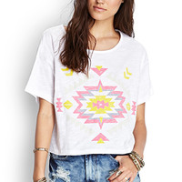FOREVER 21 Boxy Southwestern Print Top White/Pink