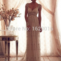 2016 Vestidos De Novia Casamento Robe De A-line V-neck Ivory Lace Beaded Open Back Wedding Dresses Wedding Gown Bridal Dresses