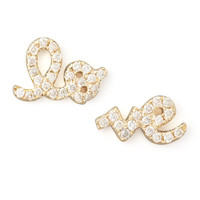 Yellow Gold Diamond Love Stud Earrings - Sydney Evan