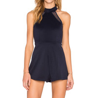 OH MY LOVE Best of My Love Racer Front Romper in Navy