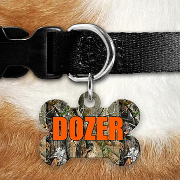 Camo Hunting Pet ID Tag, Lost Dog Tag, Pet Name Tag, Custom Pet Tag, Dog Tag Collar, Round Bone Personalized Double Sided