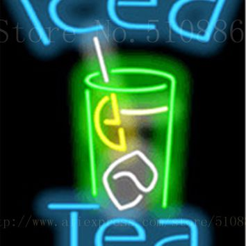 "Iced Tea Drinks Glass Tube neon sign Handcrafted Light Bar Beer Pub Club signs Shop Store Business Signboard signage 17""x14"""