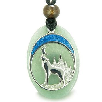 Howling Wolf Moon Amulet Good Luck Powers Green Aventurine Gemstone Pendant Necklace