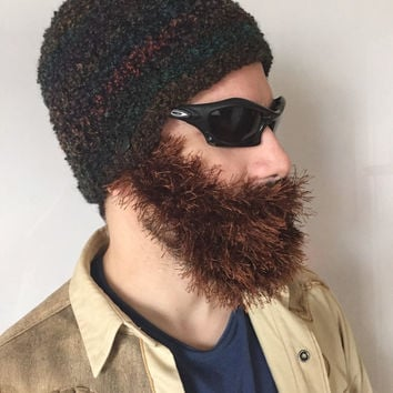 Handmade Crochet Beard Hat in Dark  colors hat with detachable Brown beard santa claus,for men, women, kids, or babies all sizes