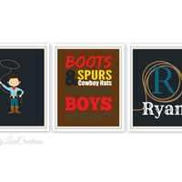 Cowboy Prints // Nursery Wall Art // Boys Room Decor // Cowboy Nursery // Personalized Name Print // Cowboy Typography