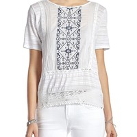 Lucky Brand Panel Embroidered Top Womens - Lucky White