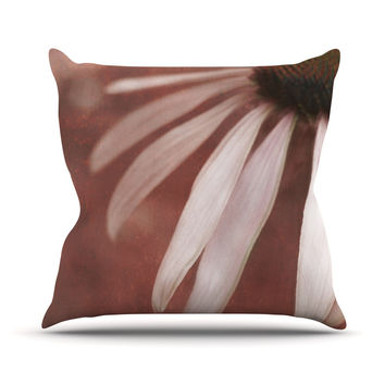 "Iris Lehnhardt ""Copper and Pale Pink"" Brown Flower Outdoor Throw Pillow"