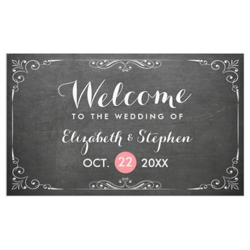 Chic Black White Chalkboard Floral Wedding Banner