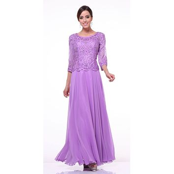 Mid Length Lace Sleeve Mother of Groom Dress Lilac Long