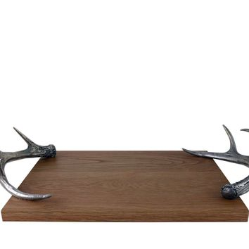 Cheese Tray With Pewter Antler Handles