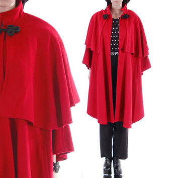 Red Wool Cape Coat 1980's 90s Vintage Boho Goth Draped Layered Winter Outerwear Womens Size Large XL