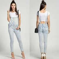 Women's Bleached Denim Overalls