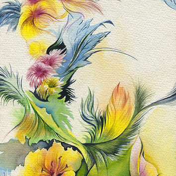 Abstract flower painting - original watercolor flowers and leaves painting, print available