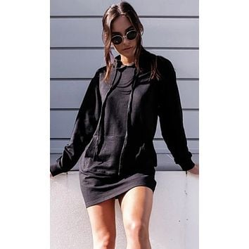 All For Me Long Sleeve Hooded Kangaroo Pocket Mini Dress - 2 Colors Available