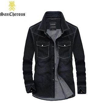 2019 High Quality 2 Colors Denim Shirt Men Long Sleeve Casual Shirts Men's Jeans Shirts Size M-4XL