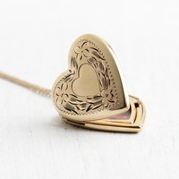 Vintage 12k Gold Filled Heart Locket Necklace- 1940s WWII Era Sweetheart Flower Etched Jewelry