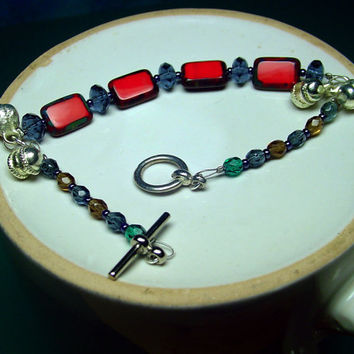 Glass Bead Bracelet Red Czech Bead Toggle Clasp by BrandonArtists