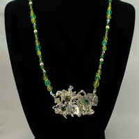 Green Coral Reef One Of A Kind Sterling Silver and Beaded Necklace
