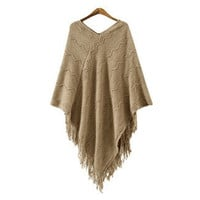 Winter Korean Women's Fashion V-neck Tassels Patchwork Scarf Sweater [6331771012]