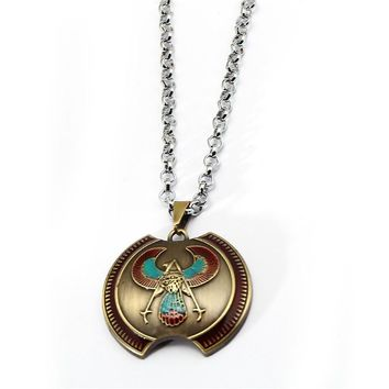 New Assassins Creed Shield Necklace Metal Assassin Creed Pendant Necklaces Bronze Choker Link Chain Women Men Jewelry