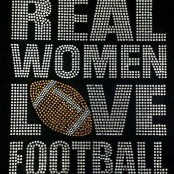 Real Women Love Football Bling Shirt