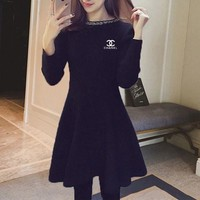 ONETOW Chanel' Women Temperament Fashion Simple Knit Bodycon Show Thin Long Sleeve Frills A Word Mini Dress